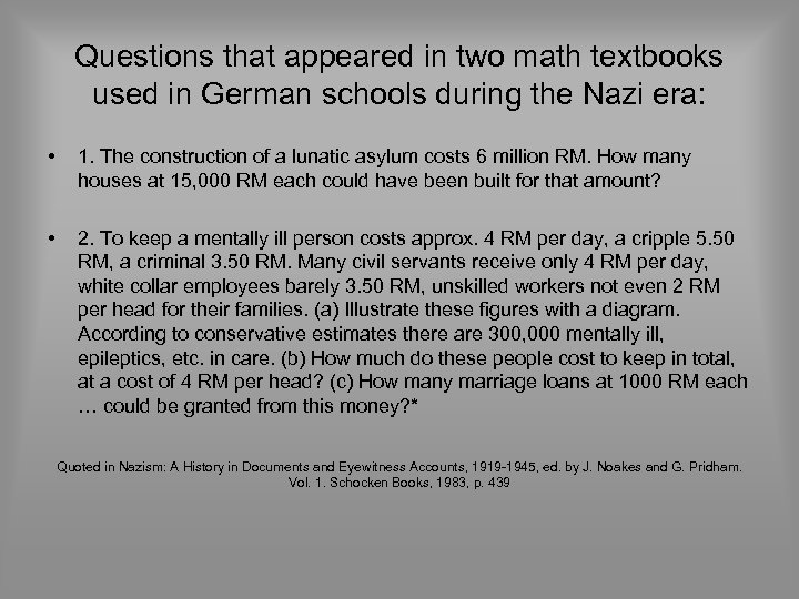 Questions that appeared in two math textbooks used in German schools during the Nazi
