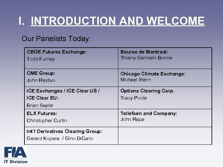 I. INTRODUCTION AND WELCOME Our Panelists Today: CBOE Futures Exchange: Todd Furney Bourse de