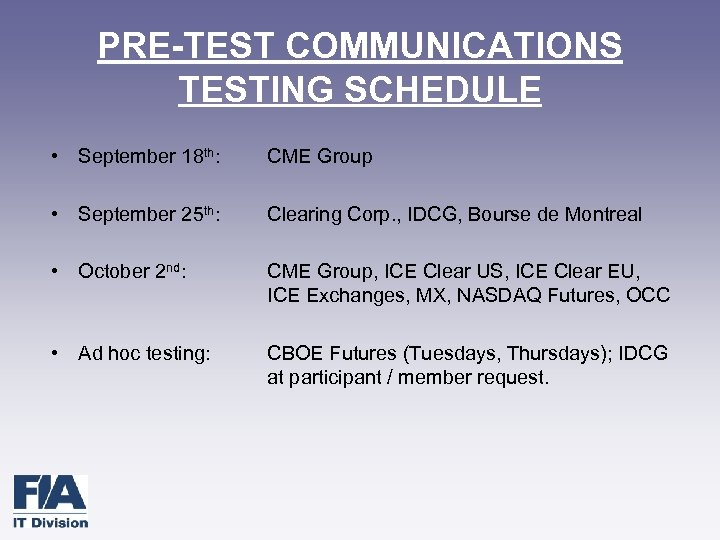 PRE-TEST COMMUNICATIONS TESTING SCHEDULE • September 18 th: CME Group • September 25 th:
