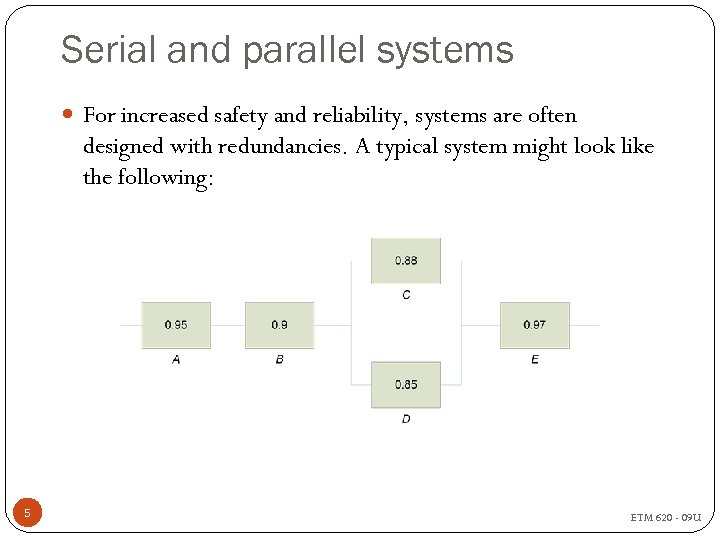 Serial and parallel systems For increased safety and reliability, systems are often designed with