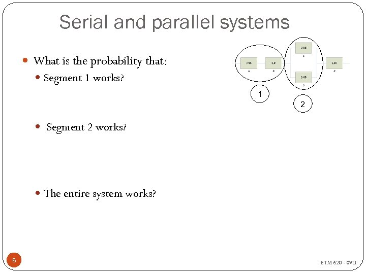 Serial and parallel systems What is the probability that: Segment 1 works? 1 2