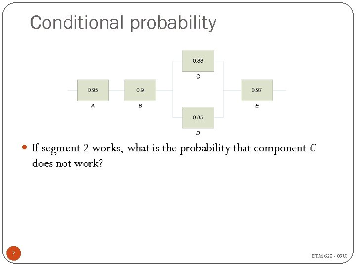 Conditional probability If segment 2 works, what is the probability that component C does