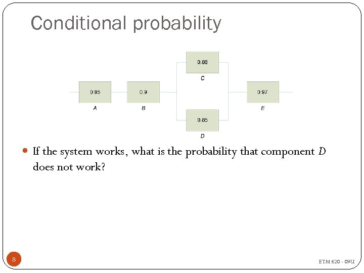 Conditional probability If the system works, what is the probability that component D does