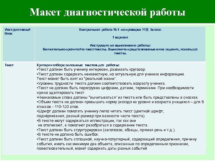 Макет диагностической работы – Инструктивный блок Текст Контрольная работа № 1 по проверке УУД