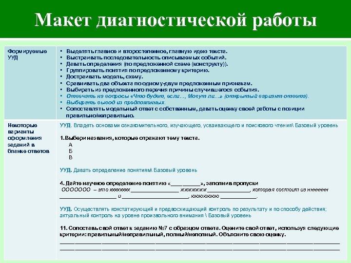 Макет диагностической работы Формируемые УУД • • • Некоторые варианты оформления заданий в бланке
