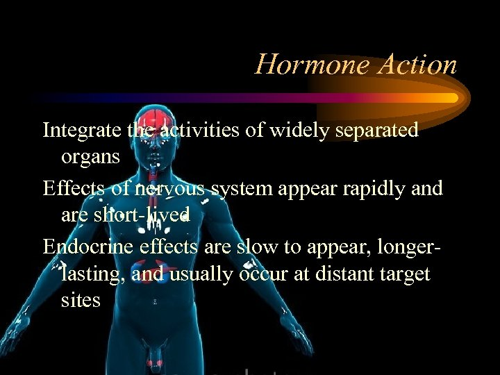 Hormone Action Integrate the activities of widely separated organs Effects of nervous system appear