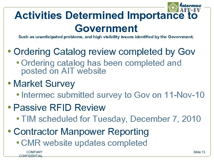 Activities Determined Importance to Government Such as unanticipated problems, and high visibility issues identified