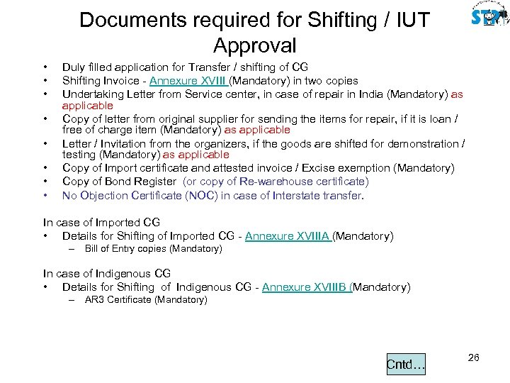 Documents required for Shifting / IUT Approval • • Duly filled application for Transfer