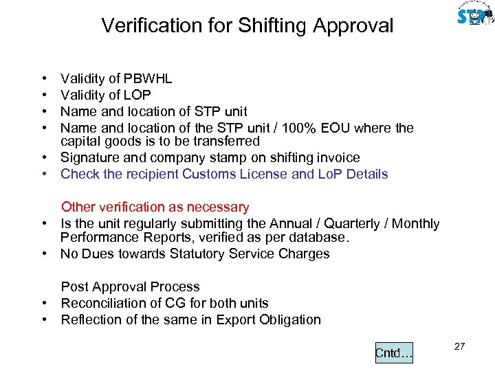 Verification for Shifting Approval • • Validity of PBWHL Validity of LOP Name and