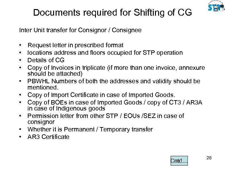 Documents required for Shifting of CG Inter Unit transfer for Consignor / Consignee •