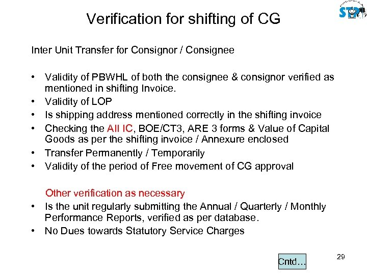Verification for shifting of CG Inter Unit Transfer for Consignor / Consignee • Validity