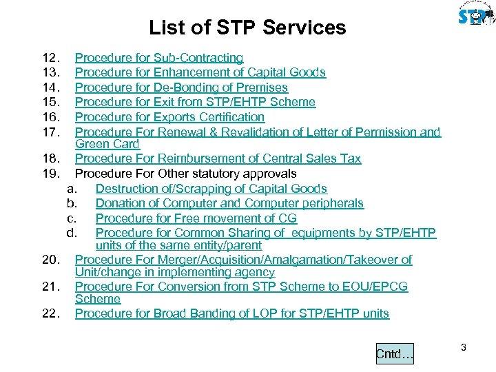 List of STP Services 12. 13. 14. 15. 16. 17. 18. 19. 20. 21.