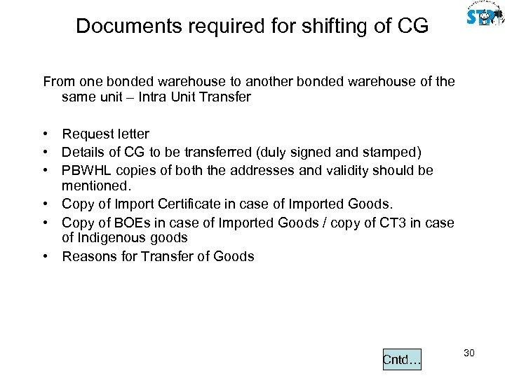 Documents required for shifting of CG From one bonded warehouse to another bonded warehouse