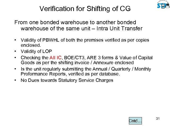 Verification for Shifting of CG From one bonded warehouse to another bonded warehouse of