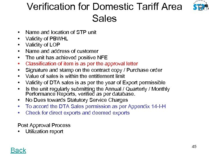 Verification for Domestic Tariff Area Sales • • • • Name and location of
