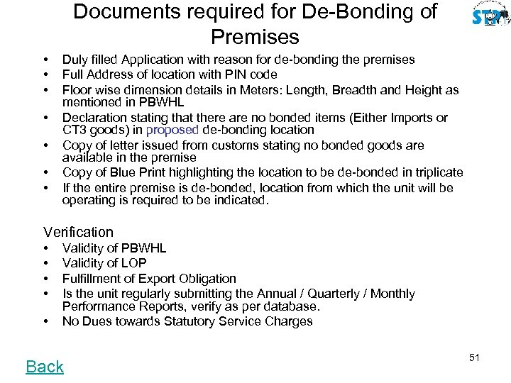 Documents required for De-Bonding of Premises • • Duly filled Application with reason for