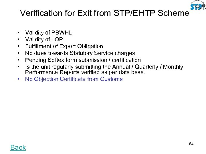 Verification for Exit from STP/EHTP Scheme • • • Validity of PBWHL Validity of