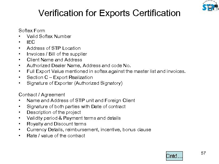 Verification for Exports Certification Softex Form • Valid Softex Number • IEC • Address