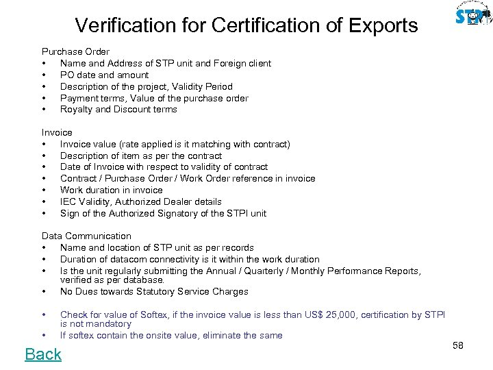 Verification for Certification of Exports Purchase Order • Name and Address of STP unit