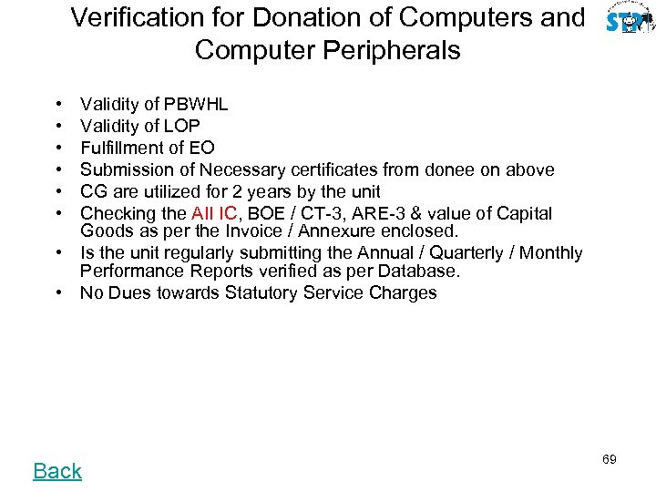 Verification for Donation of Computers and Computer Peripherals • • • Validity of PBWHL