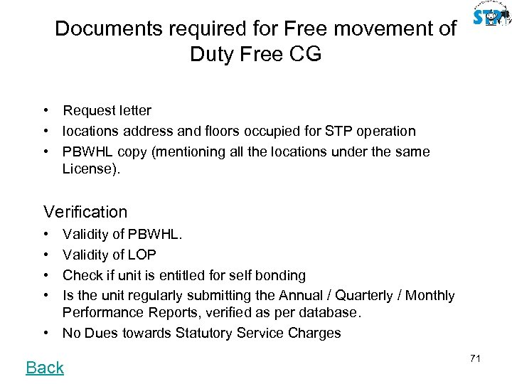 Documents required for Free movement of Duty Free CG • Request letter • locations