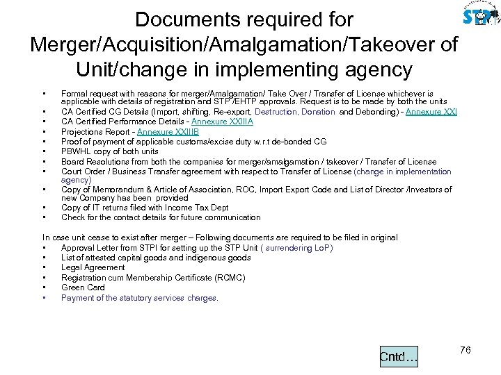 Documents required for Merger/Acquisition/Amalgamation/Takeover of Unit/change in implementing agency • • • Formal request
