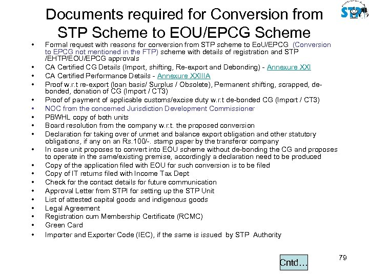 • • • • • Documents required for Conversion from STP Scheme to