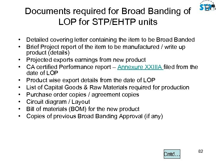 Documents required for Broad Banding of LOP for STP/EHTP units • Detailed covering letter