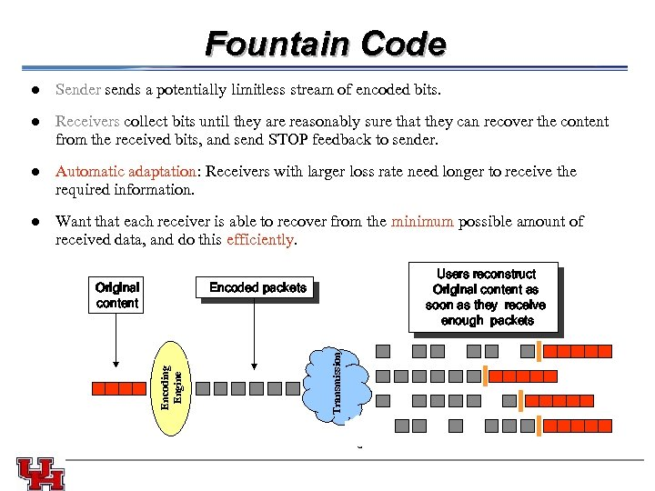Fountain Code l l Automatic adaptation: Receivers with larger loss rate need longer to
