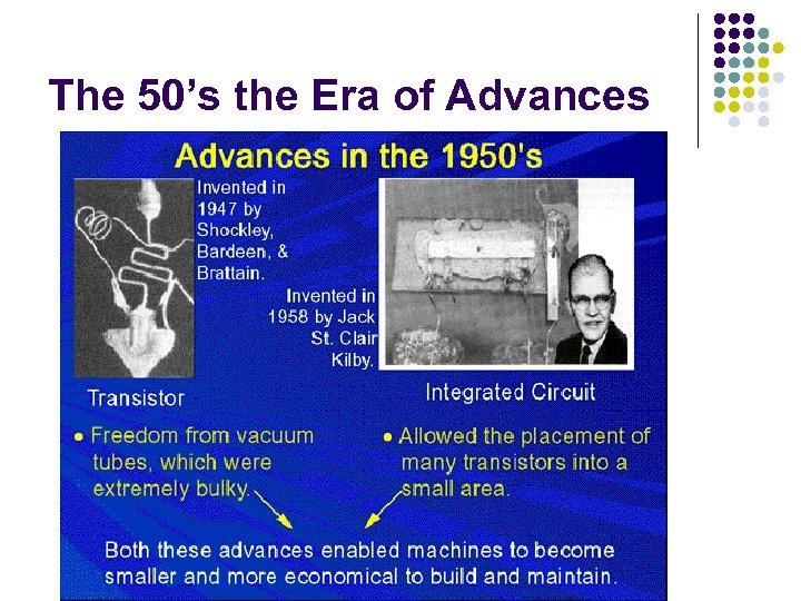 The 50's the Era of Advances