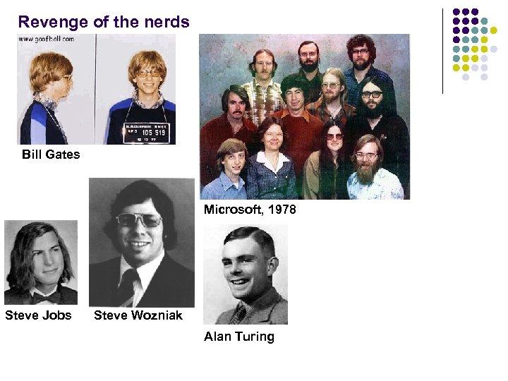 Revenge of the nerds Bill Gates Microsoft, 1978 Steve Jobs Steve Wozniak Alan Turing