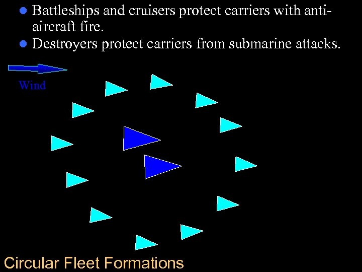 Battleships and cruisers protect carriers with antiaircraft fire. l Destroyers protect carriers from submarine