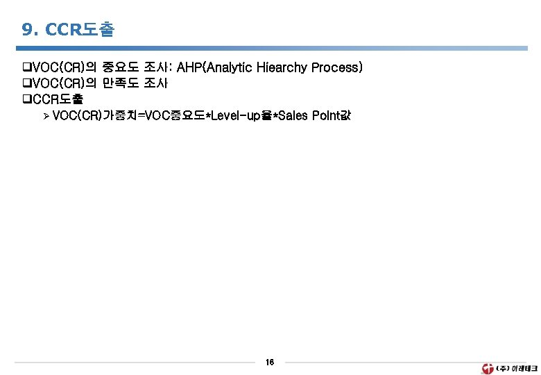 9. CCR도출 q. VOC(CR)의 중요도 조사: AHP(Analytic Hiearchy Process) q. VOC(CR)의 만족도 조사 q.