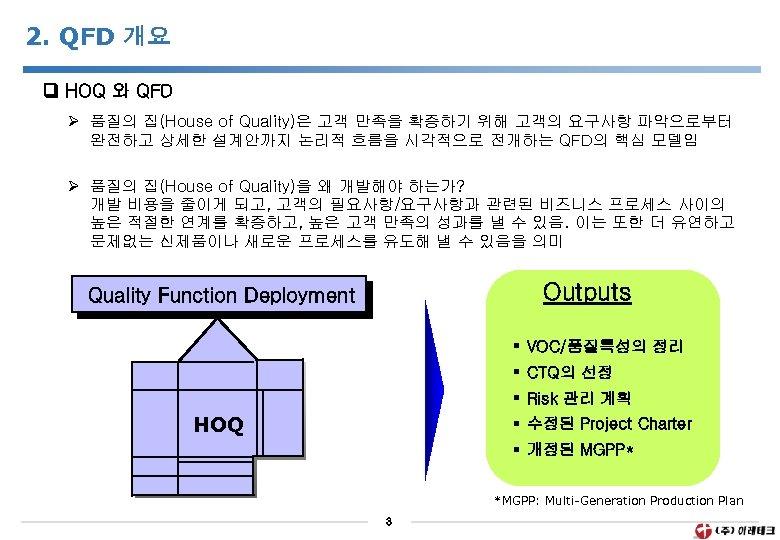 2. QFD 개요 HOQ 와 QFD Ø 품질의 집(House of Quality)은 고객 만족을 확증하기