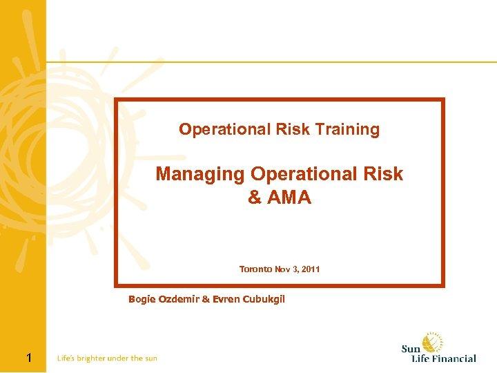 Operational Risk Training Managing Operational Risk & AMA Toronto Nov 3, 2011 Bogie Ozdemir