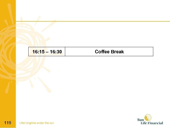 16: 15 – 16: 30 119 Coffee Break