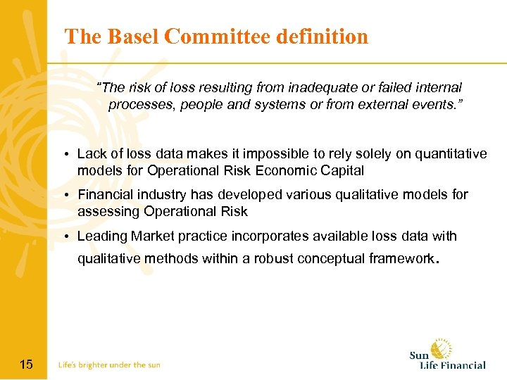 """The Basel Committee definition """"The risk of loss resulting from inadequate or failed internal"""