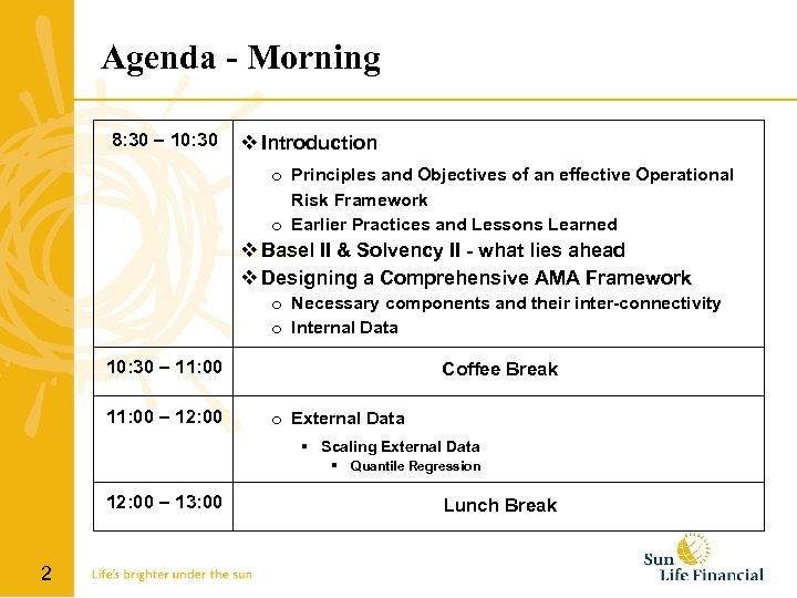 Agenda - Morning 8: 30 – 10: 30 Introduction o Principles and Objectives of