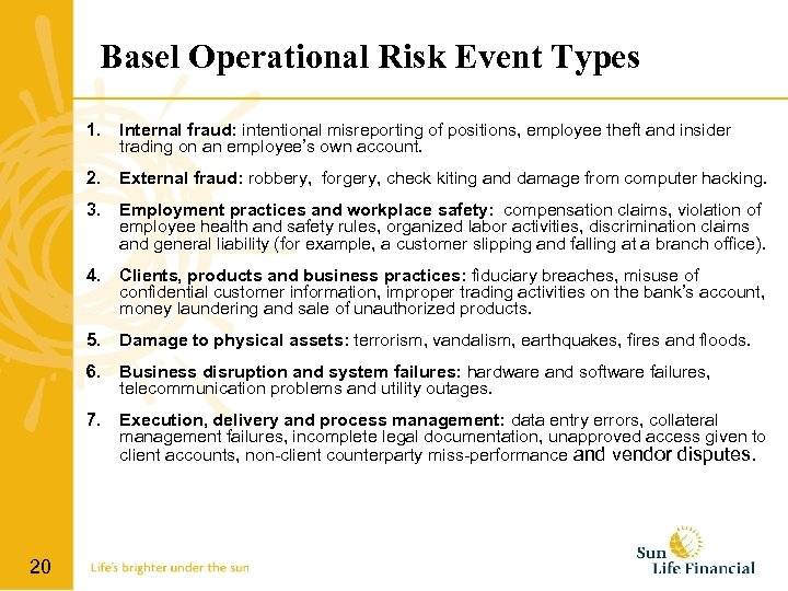 Basel Operational Risk Event Types 1. Internal fraud: intentional misreporting of positions, employee theft