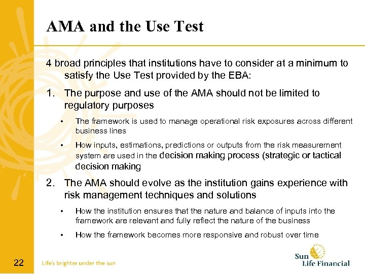 AMA and the Use Test 4 broad principles that institutions have to consider at