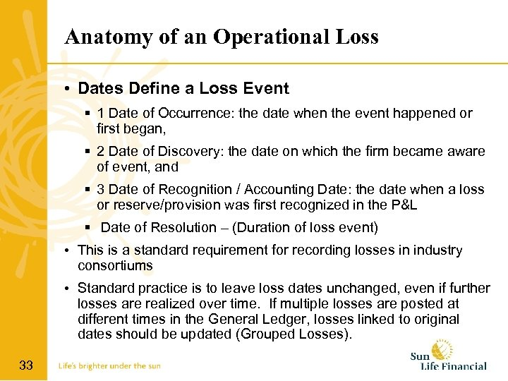 Anatomy of an Operational Loss • Dates Define a Loss Event 1 Date of