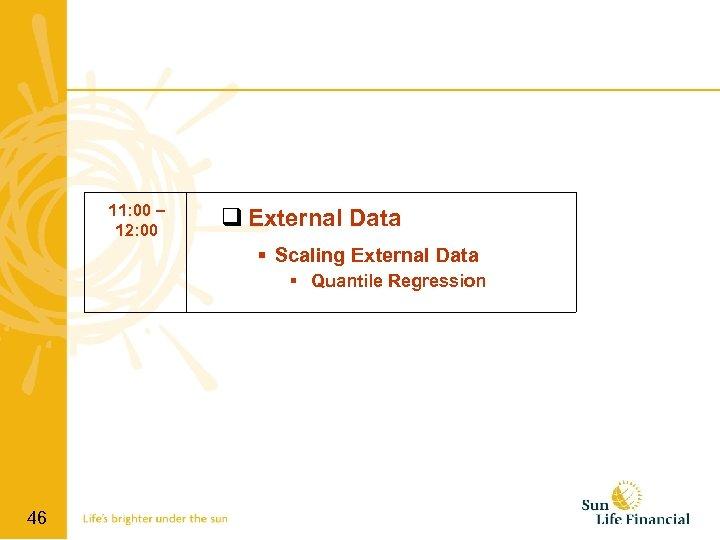 11: 00 – 12: 00 q External Data Scaling External Data Quantile Regression 46