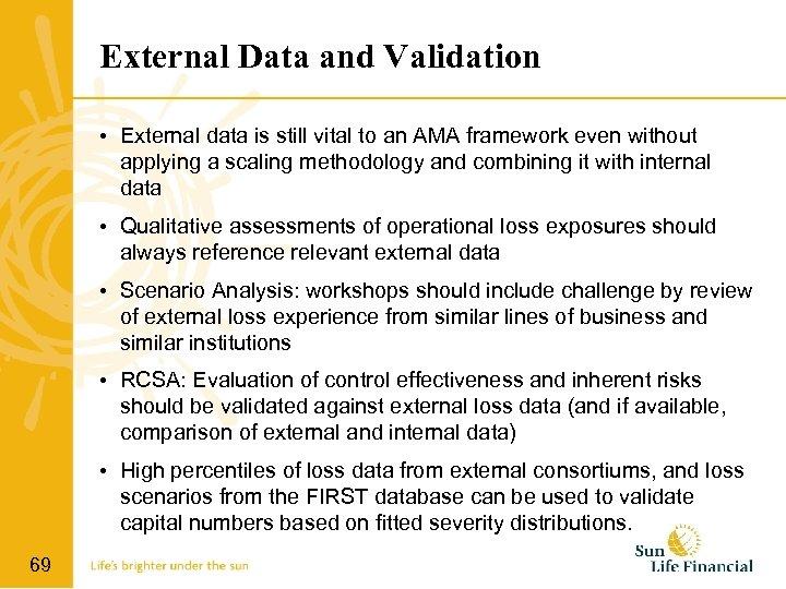 External Data and Validation • External data is still vital to an AMA framework