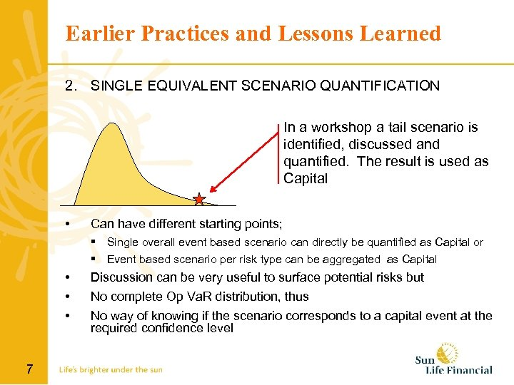 Earlier Practices and Lessons Learned 2. SINGLE EQUIVALENT SCENARIO QUANTIFICATION In a workshop a