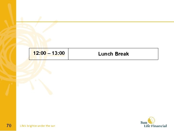 12: 00 – 13: 00 70 Lunch Break