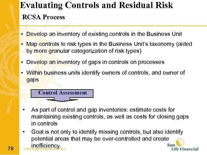 Evaluating Controls and Residual Risk RCSA Process • Develop an inventory of existing controls