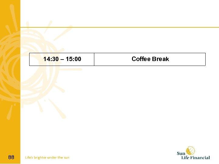 14: 30 – 15: 00 88 Coffee Break