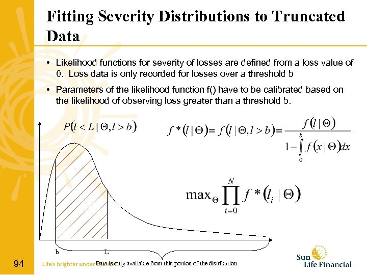 Fitting Severity Distributions to Truncated Data • Likelihood functions for severity of losses are