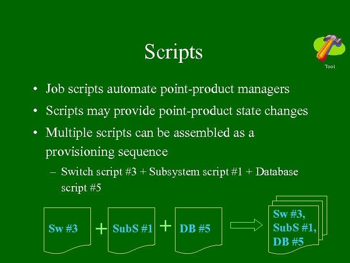 Scripts Tool • Job scripts automate point-product managers • Scripts may provide point-product state