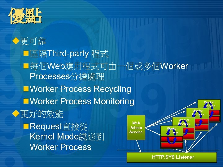 優點 u更可靠 n 區隔Third-party 程式 n 每個Web應用程式可由一個或多個Worker Processes分擔處理 n Worker Process Recycling n Worker